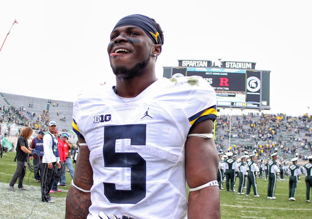 Oct 29, 2016; East Lansing, MI, USA; Michigan Wolverines linebacker Jabrill Peppers (5) walks off the field after a game against the Michigan State Spartans at Spartan Stadium. Mandatory Credit: Mike Carter-USA TODAY Sports