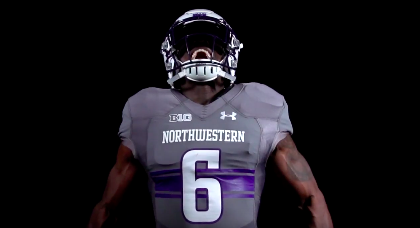 wholesale dealer c3d3a 3eb33 WATCH: Northwestern busts out new uniforms for Wisconsin game