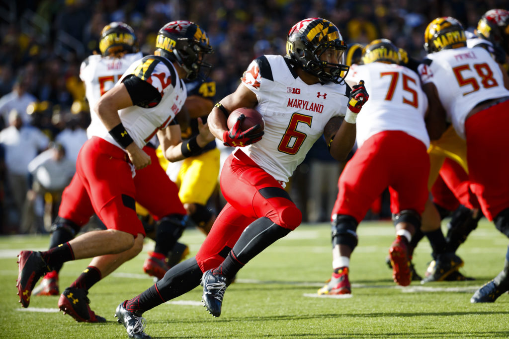 Nov 5, 2016; Ann Arbor, MI, USA; Maryland Terrapins running back Ty Johnson (6) rushes in the first half against the Michigan Wolverines at Michigan Stadium. Mandatory Credit: Rick Osentoski-USA TODAY Sports